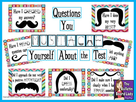 Questions You MUSTACHE Yourself - Test Prep Bulletin Board