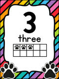 Number Posters Paw Print Them
