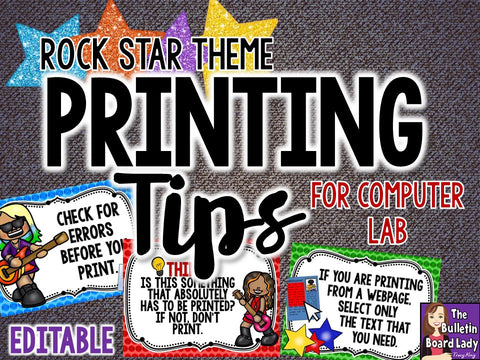 Printing Tips Posters for Computer Lab –Rock Star Theme