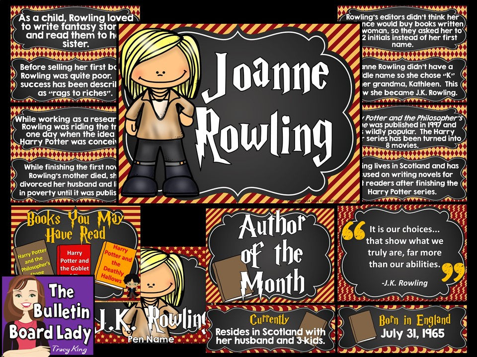 Classroom Decor Bundles ~ Author of the month j k rowling bulletin board lady