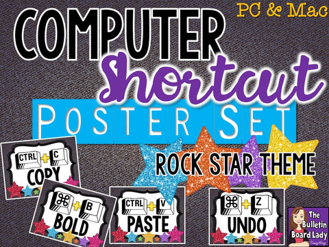 Computer Shortcuts Posters for Computer Lab - Rock Star Theme