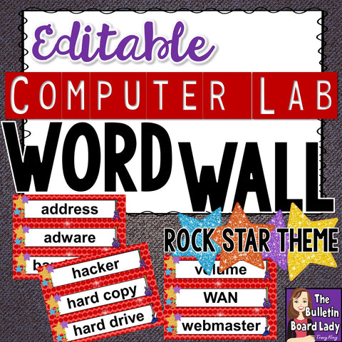 Computer Lab Word Wall Rock Star Theme