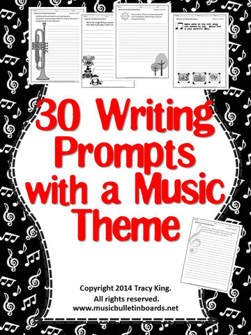 Writing Prompts with a Music Theme Set of 30