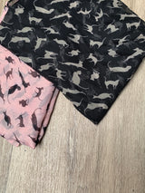 Kitty Print Scarf- Black