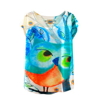 Summer Cat Print O-Neck  T Shirt