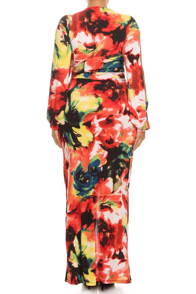 Plus Size Vibrant Floral Cut Out Sleeves Maxi Dress