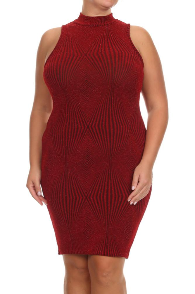 Plus Size Sparkling High Neck Starlet Dress