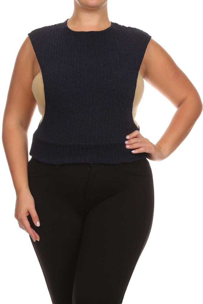 Plus Size Chic Open Sides Ribbed Knit Top