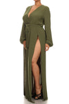 Plus Size Glamour Slit Tie Olive Maxi Dress