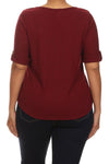 Plus Size Trendy Zipper Collar Ribbed Burgundy Top