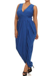 Plus Size Radiance Tulip Hem Blue Maxi Dress