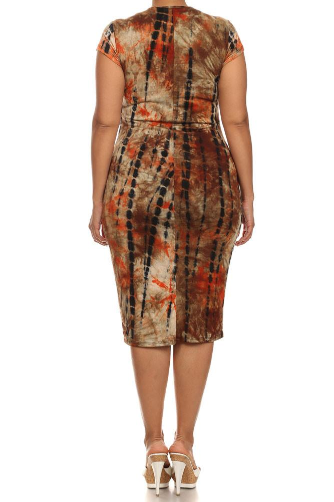 Plus Size Rad Tie Dye Orange Dress