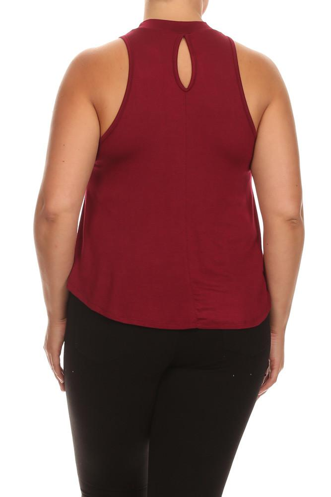 Plus Size Flowy Mock Neck Burgundy Tank