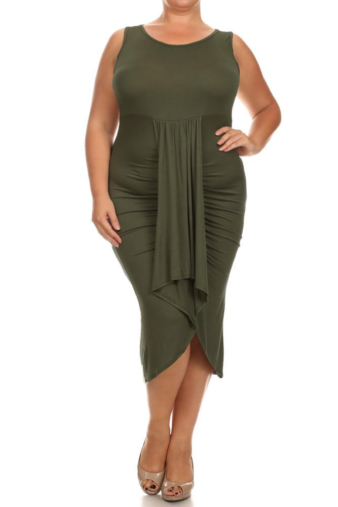 Plus Size Bella Draped Knit Olive Midi Dress