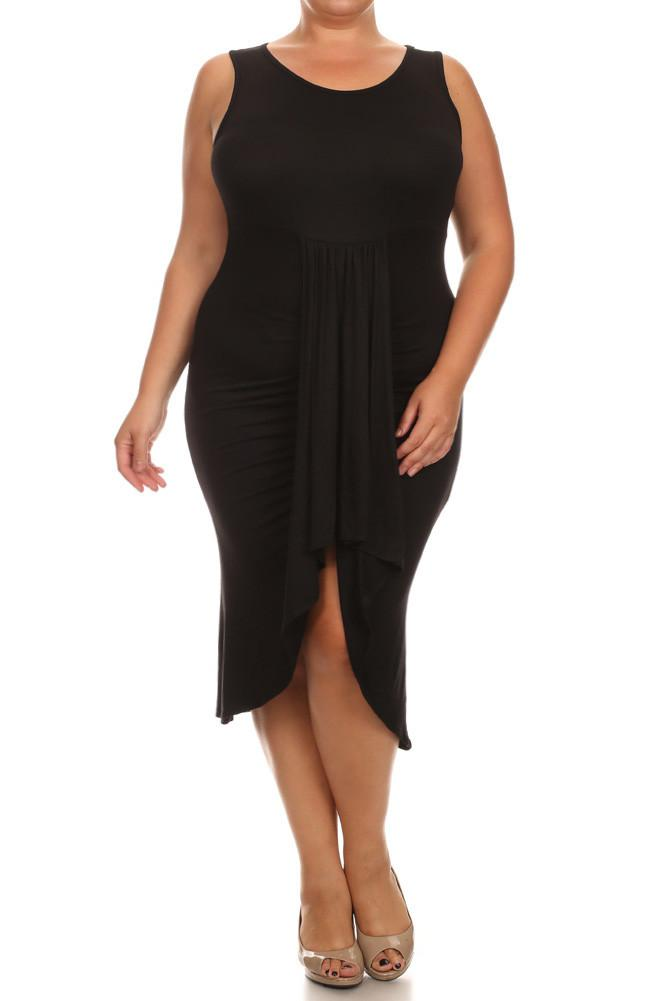 Plus Size Bella Draped Knit Black Midi Dress