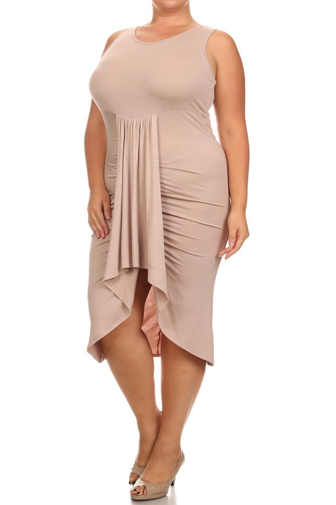 Plus Size Bella Draped Knit Tan Midi Dress