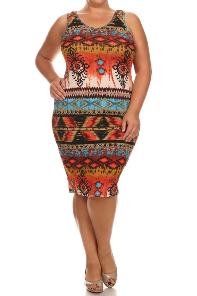 Plus Size Breezy Tribal Print Midi Blue Dress