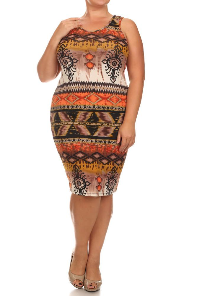 Plus Size Breezy Tribal Print Midi Orange Dress