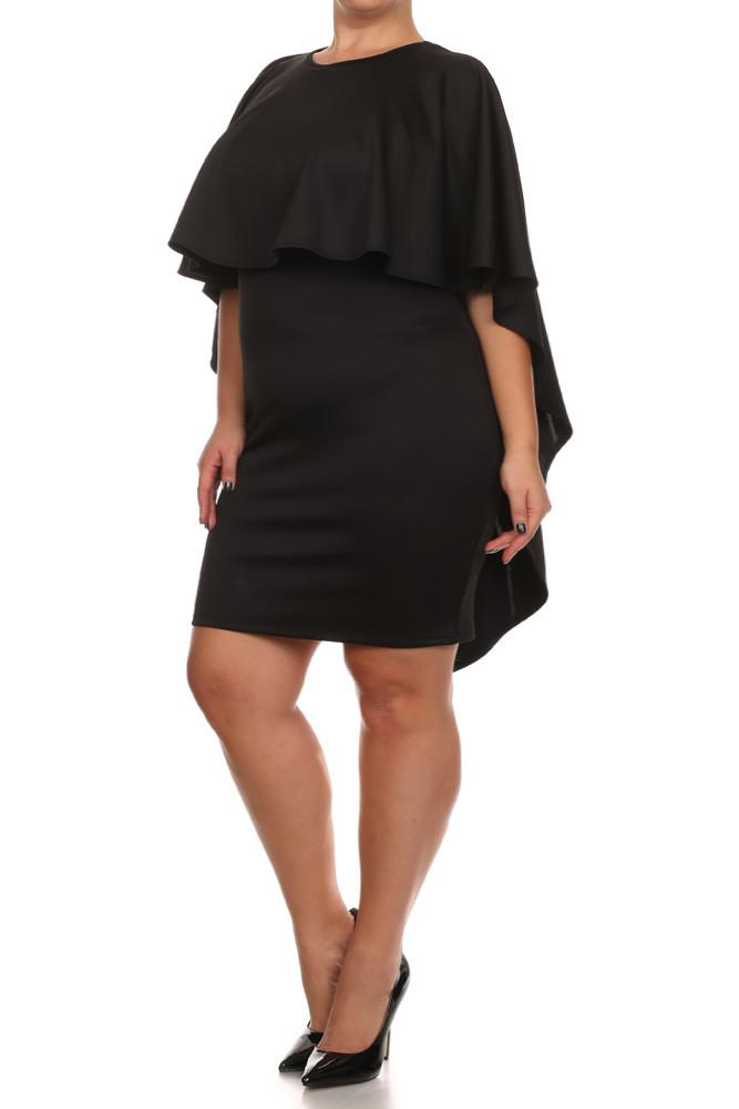 Plus Size Lavish Caped Layered Dress