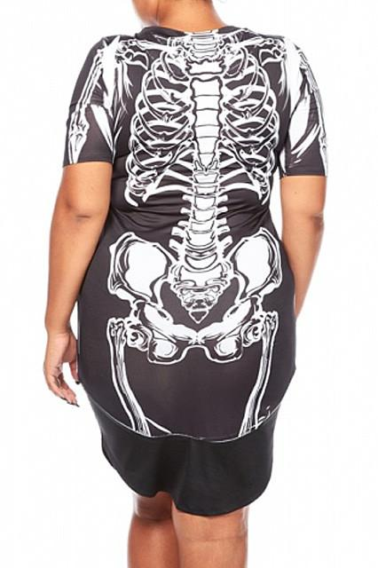 Plus Size Skeleton Print Halloween Dress