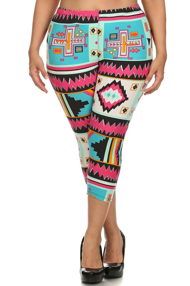 Plus Size Colorful Aztec Print Capri Leggings