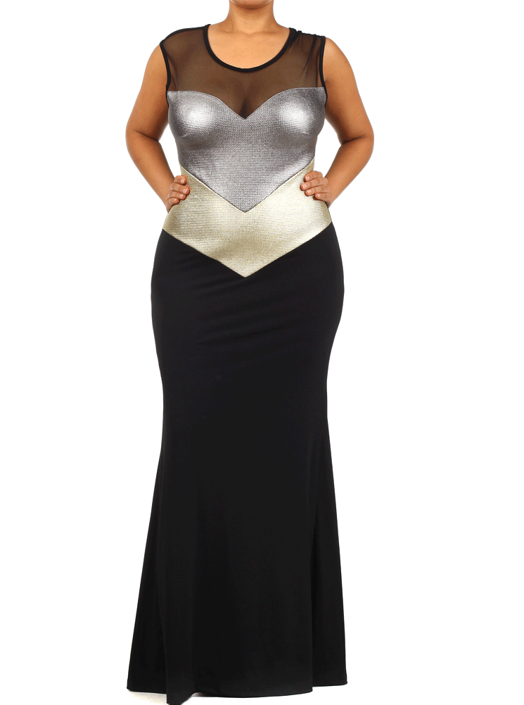 Plus Size Metallic Gold And Silver Mesh Maxi Dress