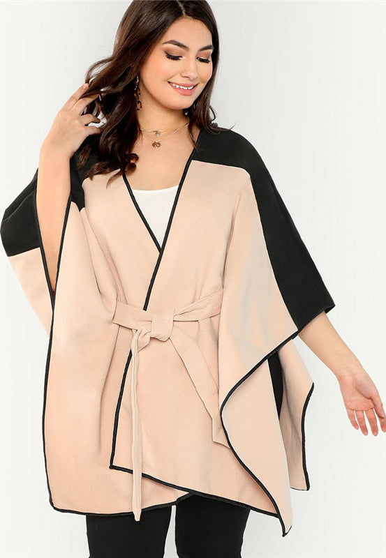 Plus Size High Street Color Block Cloak Sleeve Belted Cape Coat Top