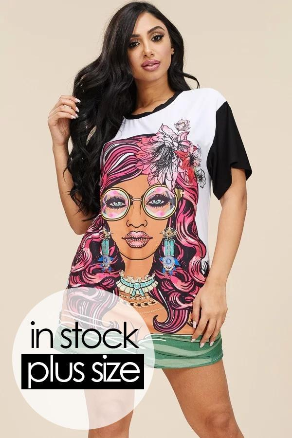 a6c6cd972f Plus Size Short Sleeve Studded Sublimation Top
