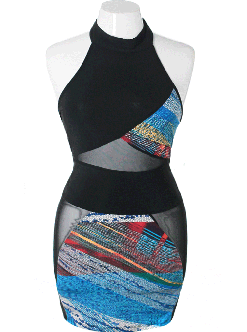 Plus Size Sexy Abstract Bodycon Blue Dress