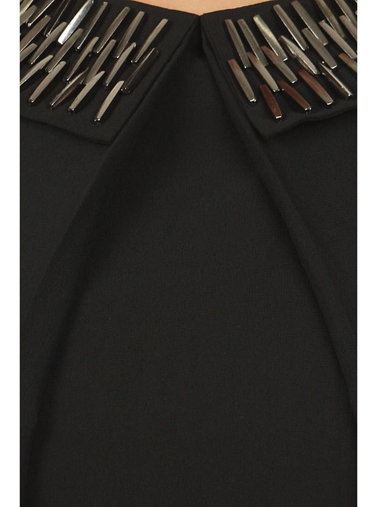 Plus Size Mod Embellished Neckline Sheer Black Top