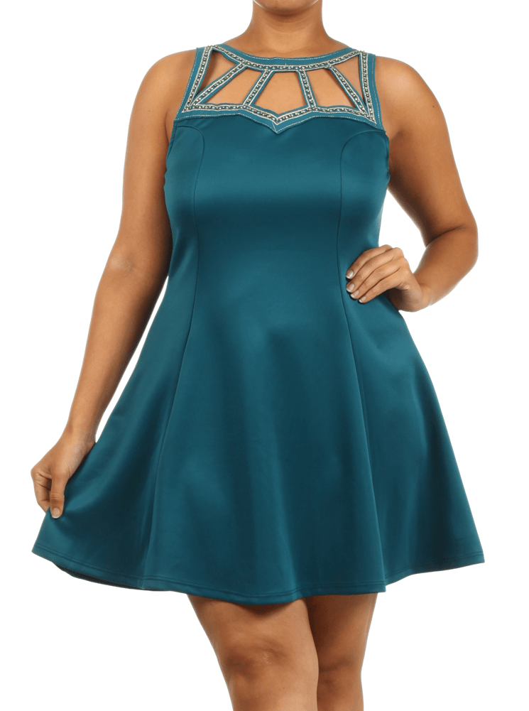 Plus Size Sexy Cut Out Gold Beaded Teal Dress