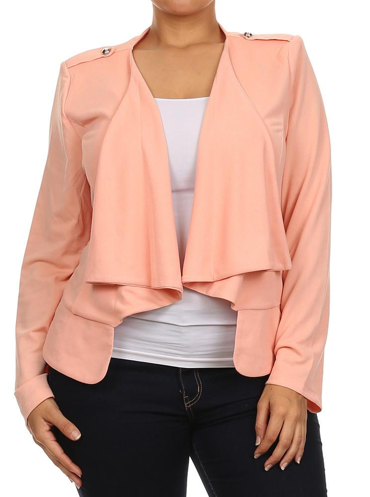 Plus Size Casual Friday Open Front Pink Jacket