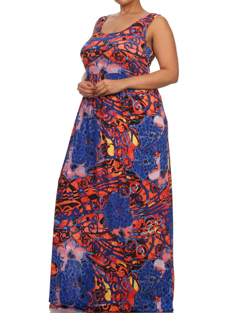 Plus Size High Slit Mosaic Print Maxi Dress