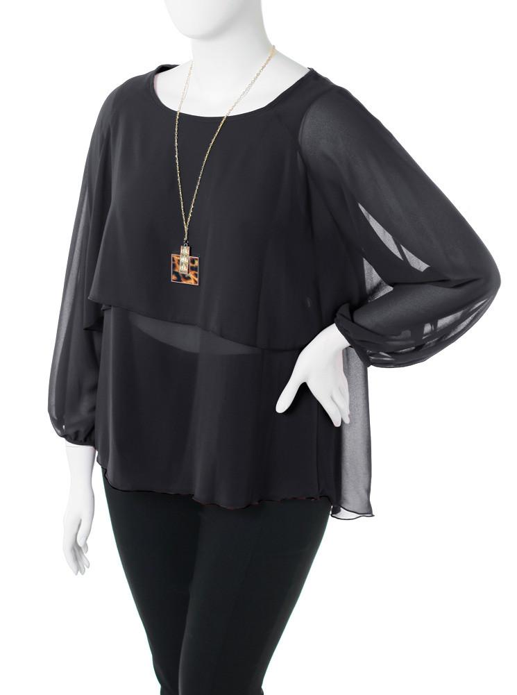 Plus Size Layered Sheer Jewelry Black Blouse