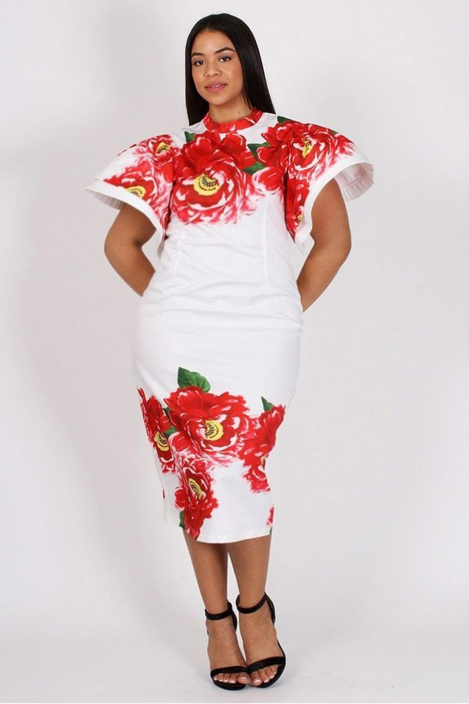 Plus Size Floral Flutter Shoulder Bodycon Dress White