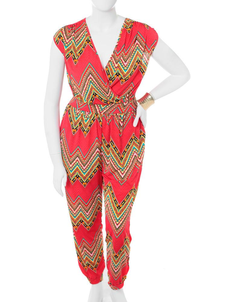 Plus Size Colorful Aztec Orange Jumpsuit