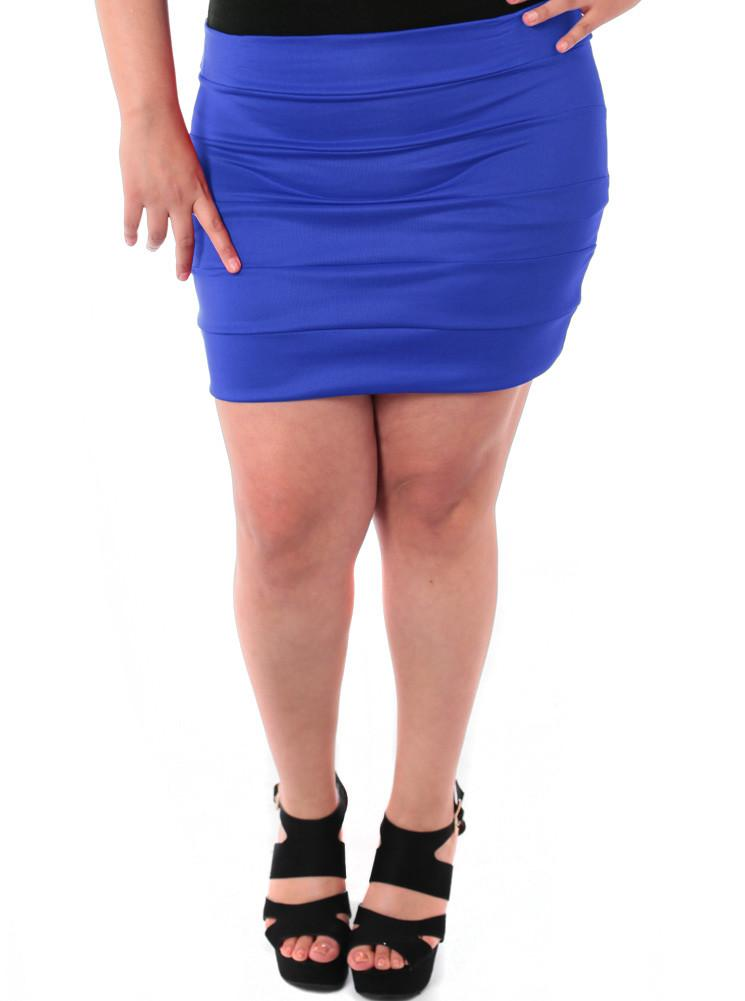 Plus Size Block Stripe Blue Mini Skirt