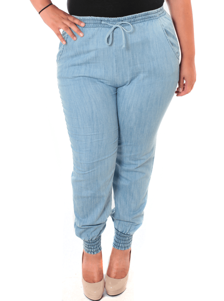 Plus Size Sky's The Limit Stonewash Blue Jogger Pants