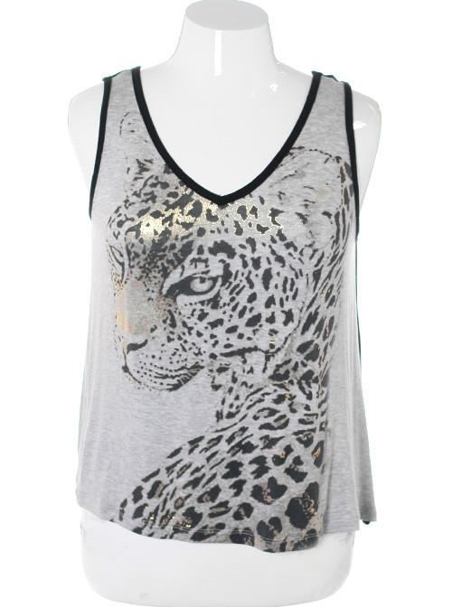 Plus Size See Through Back Grey Cheetah Top