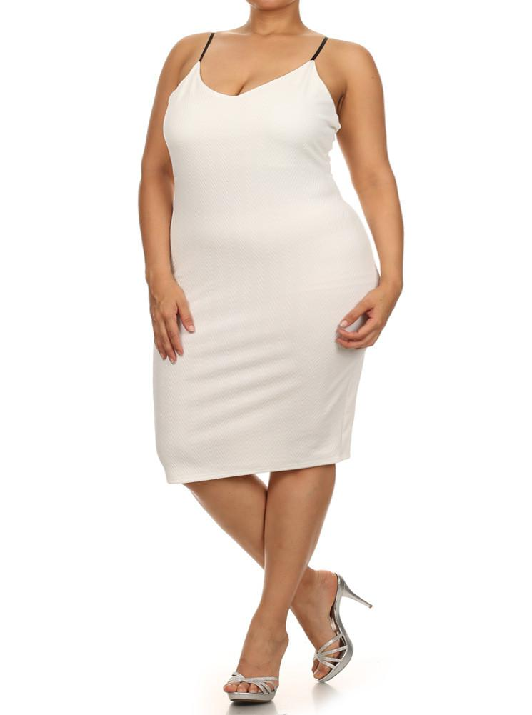 Plus Size Midnight Chevron Print White Dress
