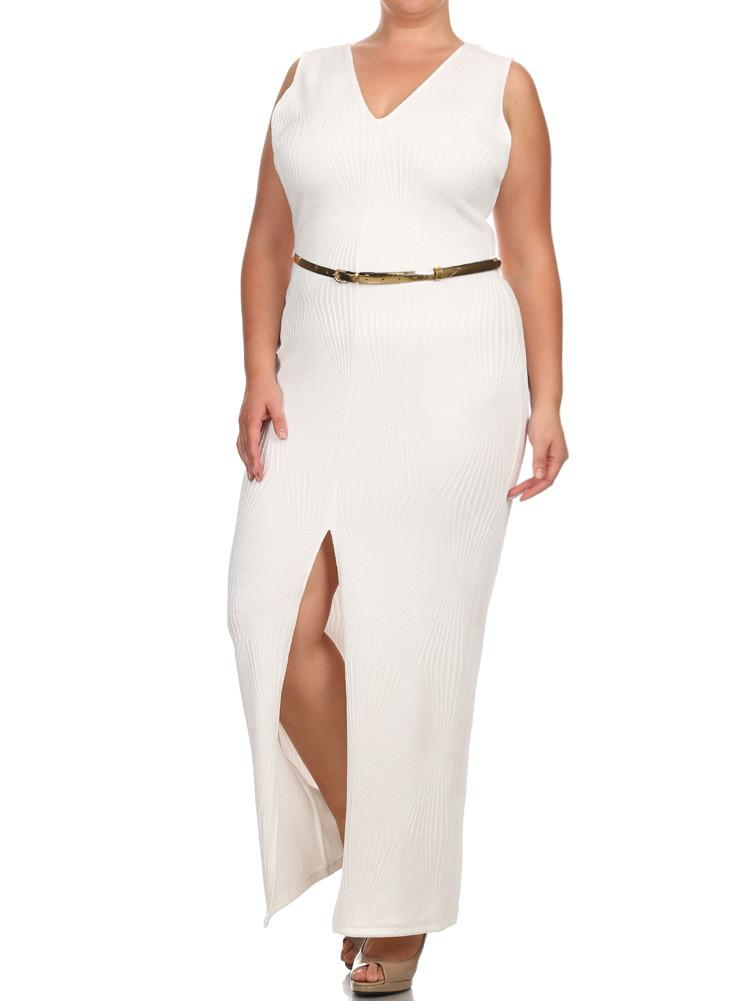 Plus Size Belted Diamond White Maxi Mesh Dress