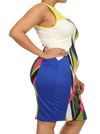Plus Size Mod Art Strokes Lime Colorblock Dress