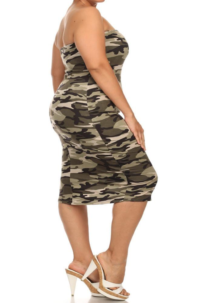 Plus Size Camo Print Sexy Tube Midi Dress