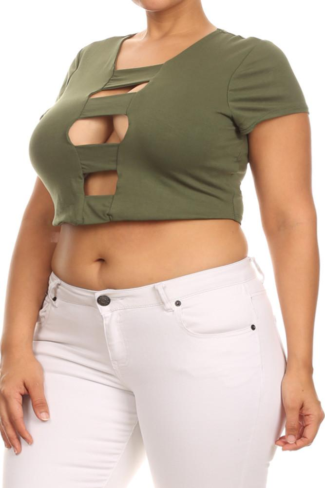 Plus Size Sexy Bandage Crop Top