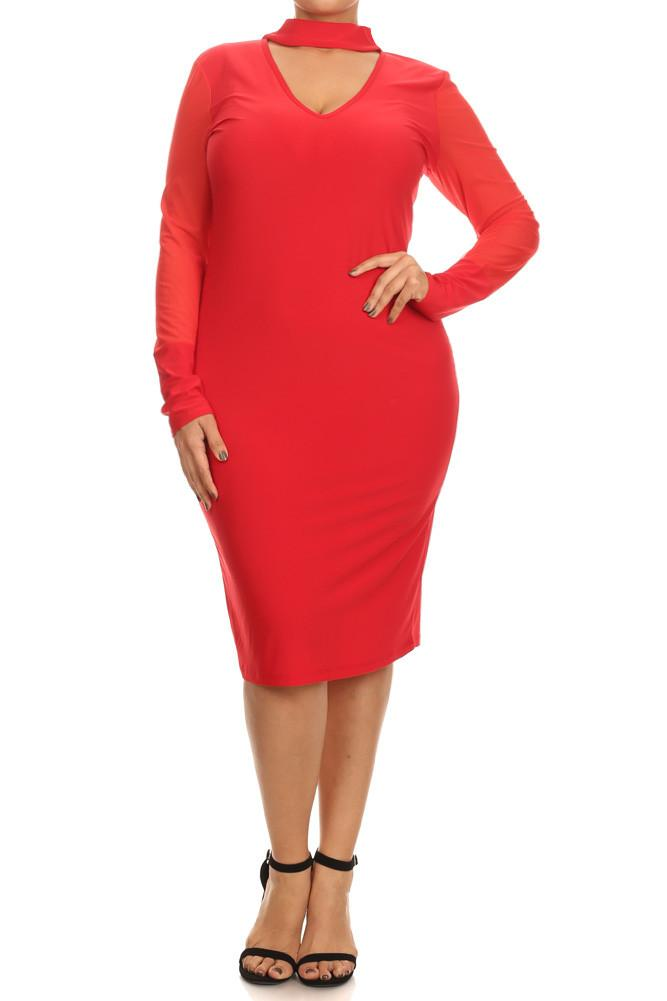 Plus Size Seductive Mock Neck Mesh Midi Dress