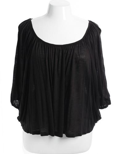 Plus Size Sexy Loose Pleat Black Top