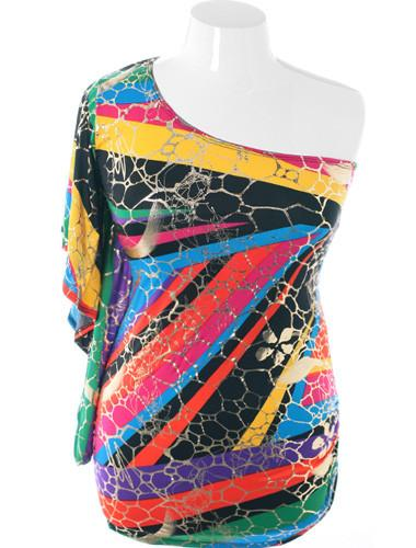 Plus Size Colorful One Shoulder Hot Long Top