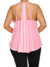 Plus Size Breezy Striped Neon Pink Chiffon Top