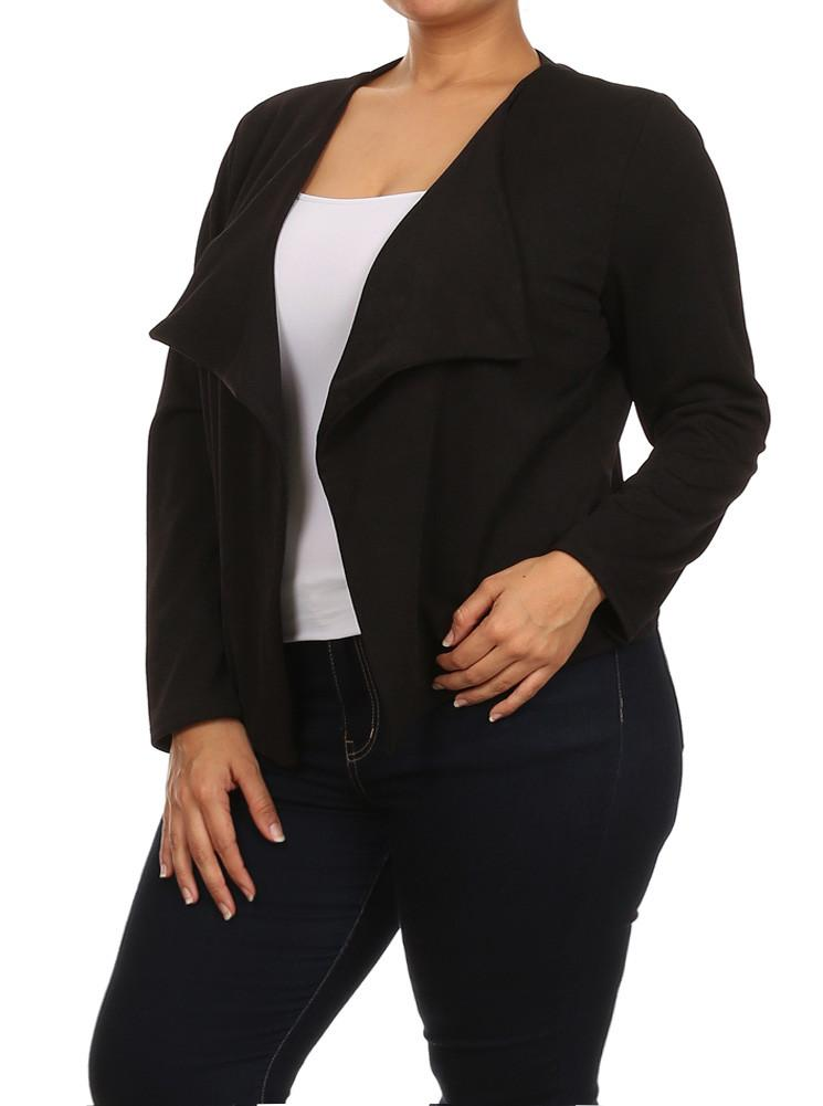 Plus Size Fashionista Drapey Open Front Black Jacket