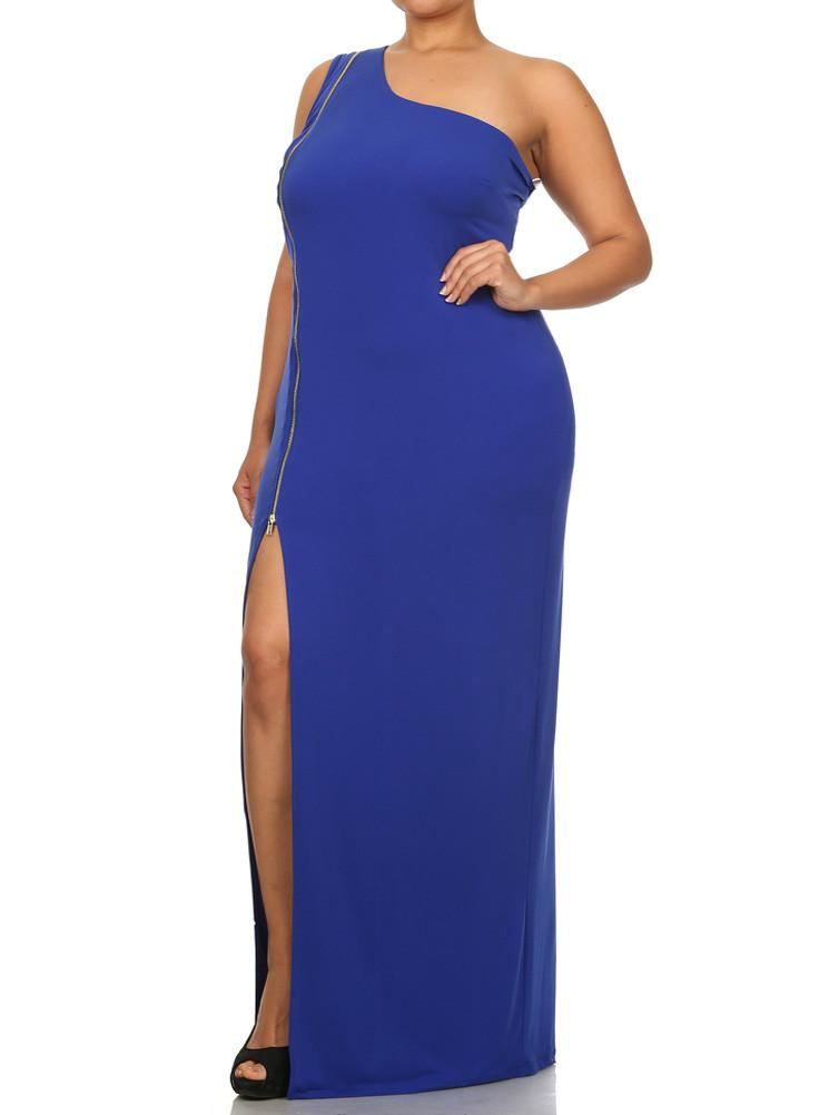 Plus Size Enticing One Shoulder Side Zipper Blue Maxi Dress